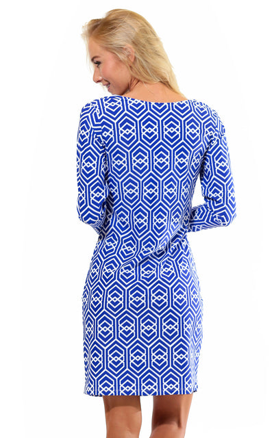 All For Color-Royal Knots Lakeside Drive Crew Neck Shift - FINAL SALE-Dresses