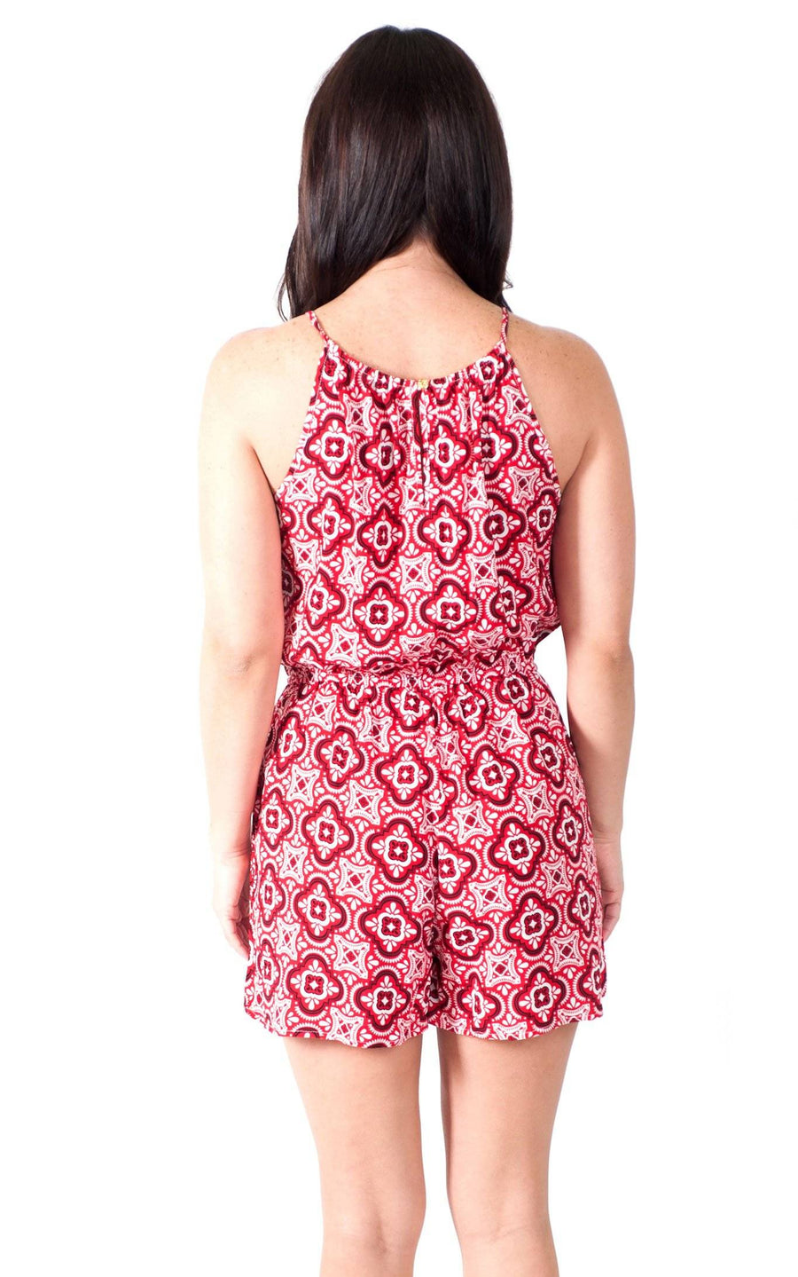 Red Black Tile Lauren Sleeveless Romper