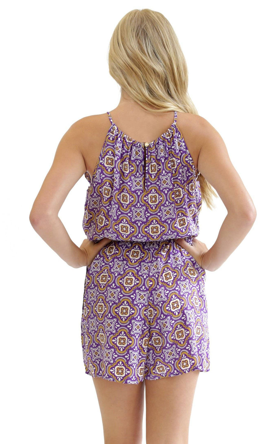 Purple Gold Tile Lauren Sleeveless Romper - FINAL SALE