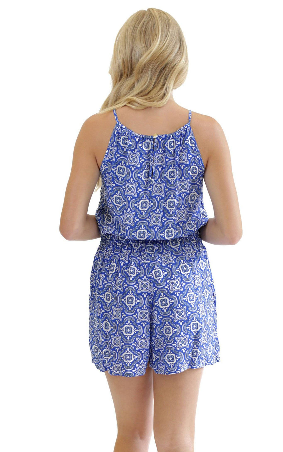 Blue White Tile Lauren Sleeveless Romper