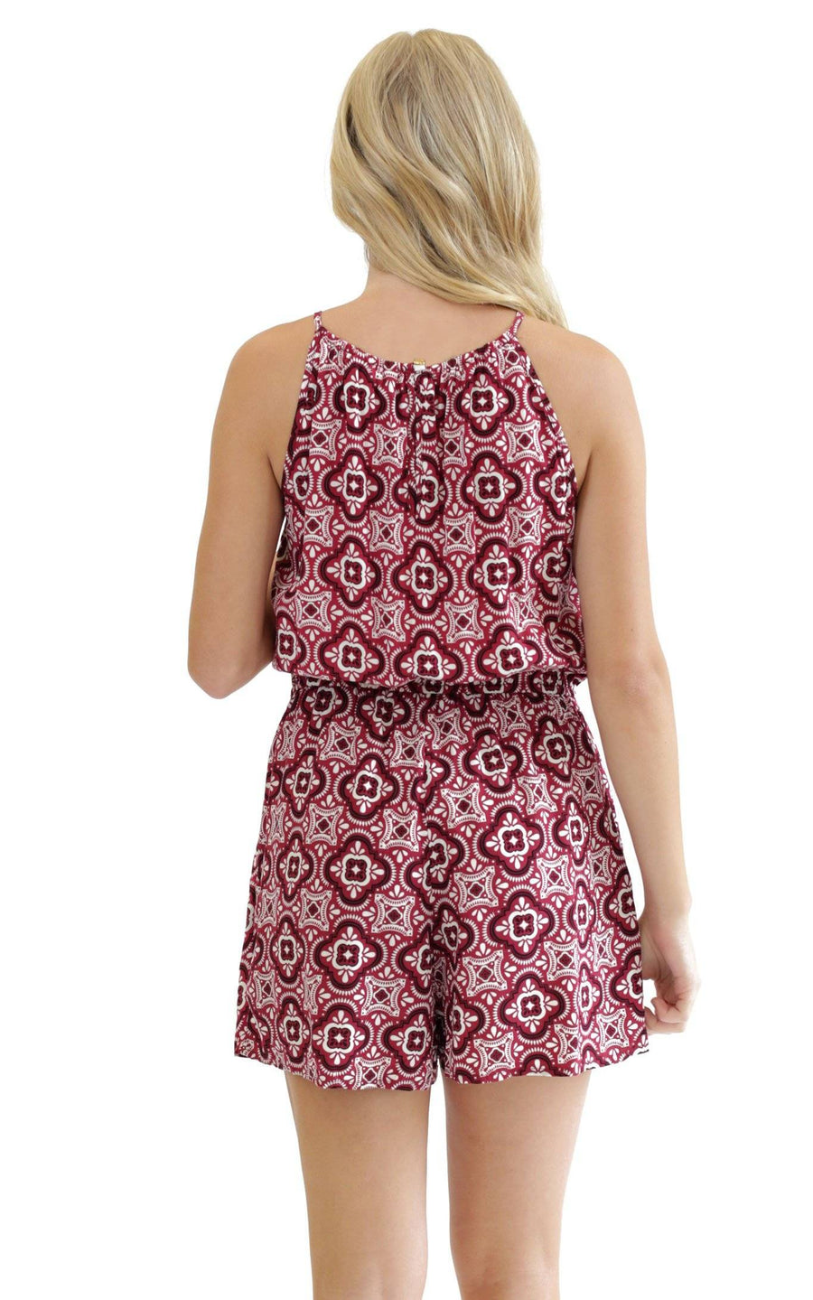 Garnet Black Tile Lauren Sleeveless Romper - FINAL SALE