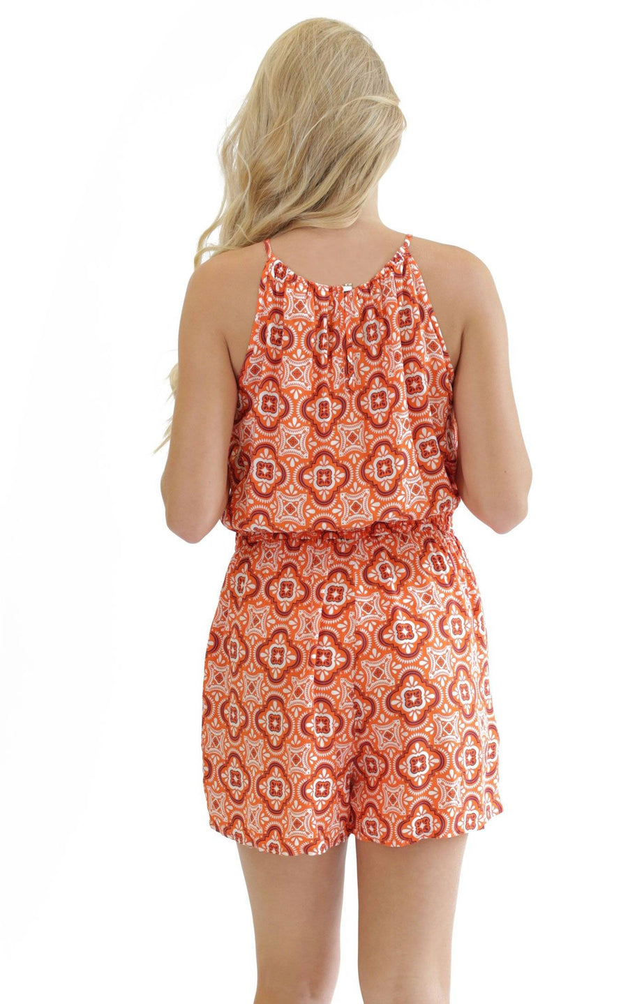 Orange Purple Tile Lauren Sleeveless Romper - FINAL SALE