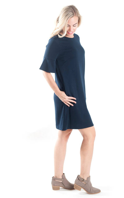 All For Color-Navy Diana Bell Sleeve Dress - FINAL SALE-Dresses