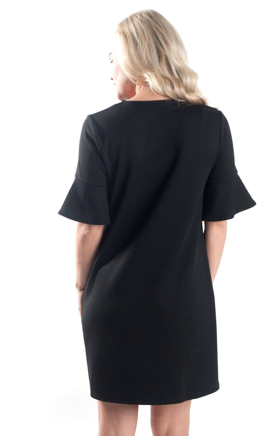 Black Diana Bell Sleeve Dress