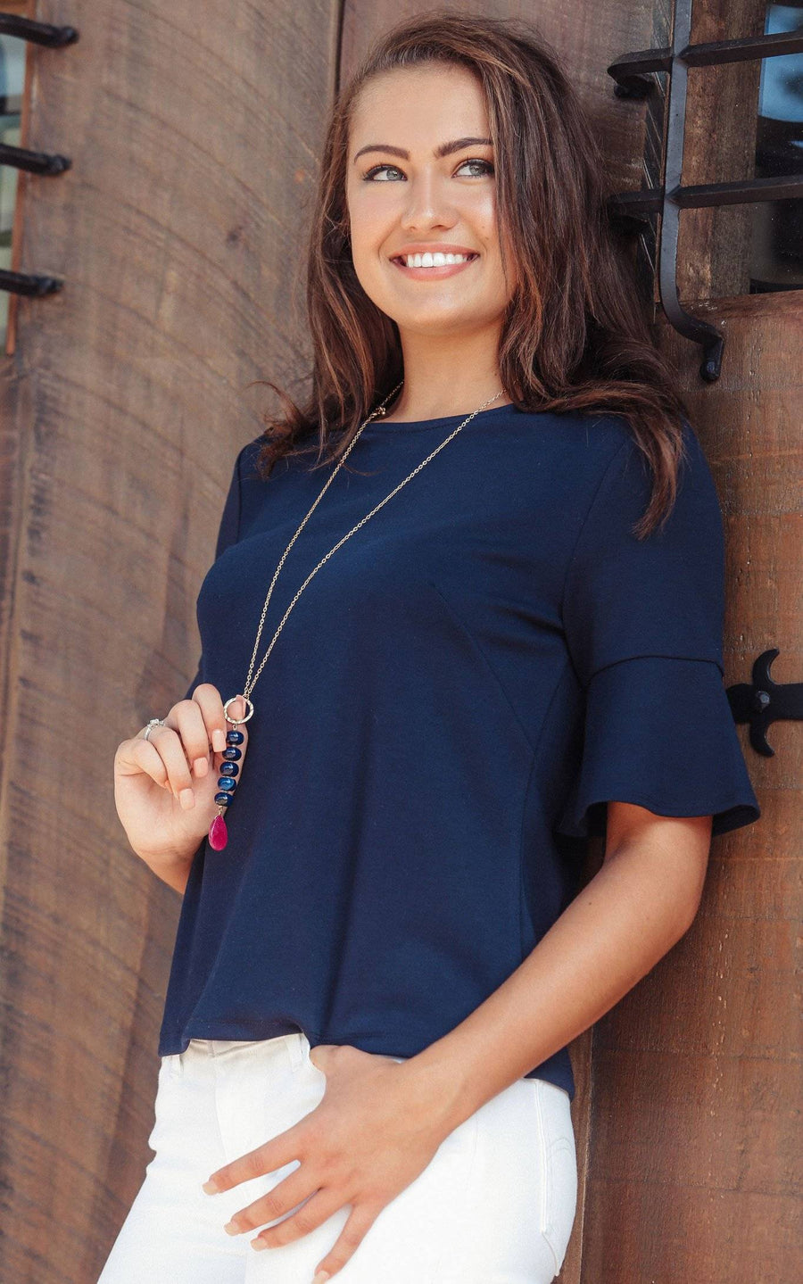 Navy Palermo Bell Sleeve Top - FINAL SALE
