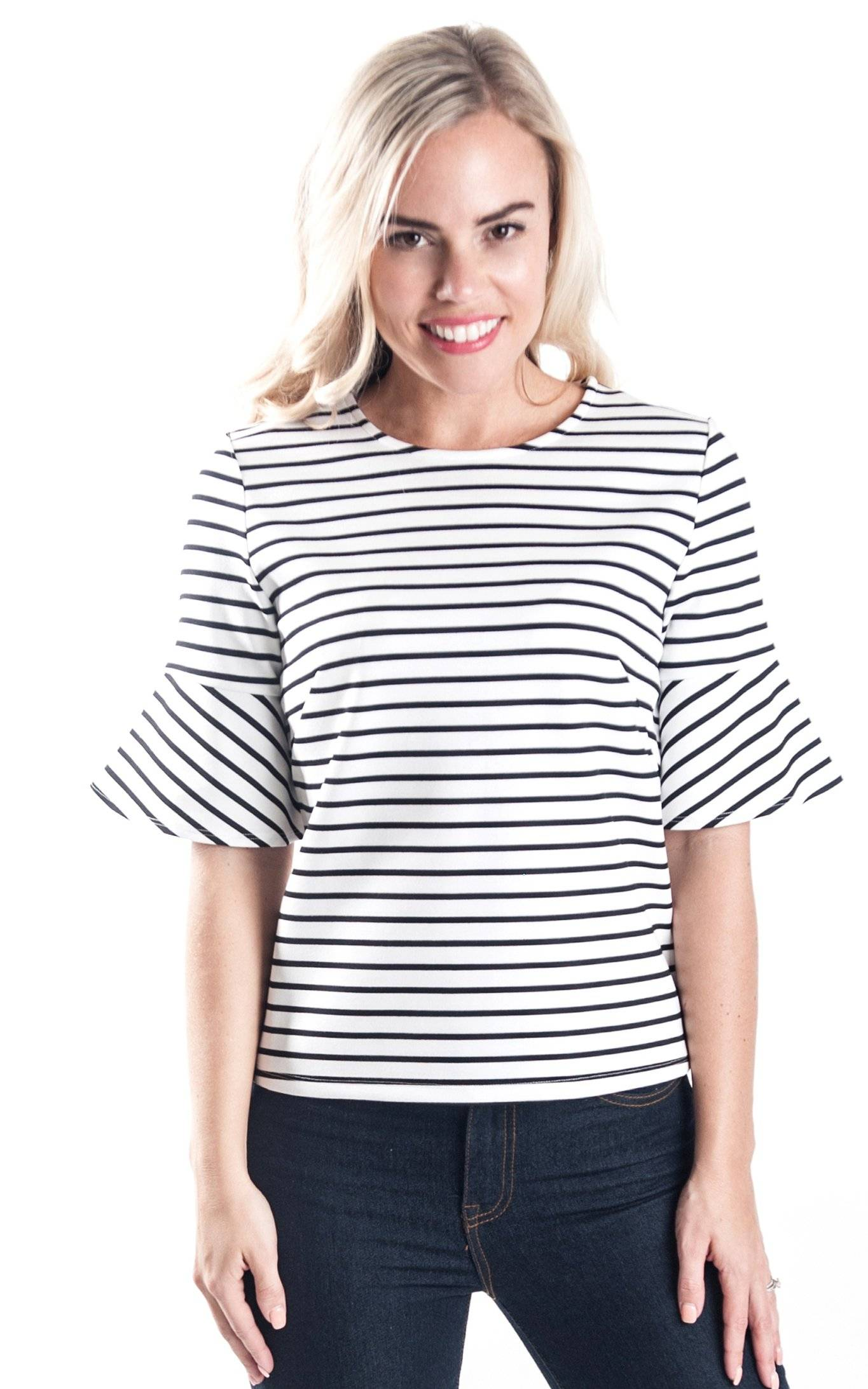 White Stripe Palermo Bell Sleeve Top