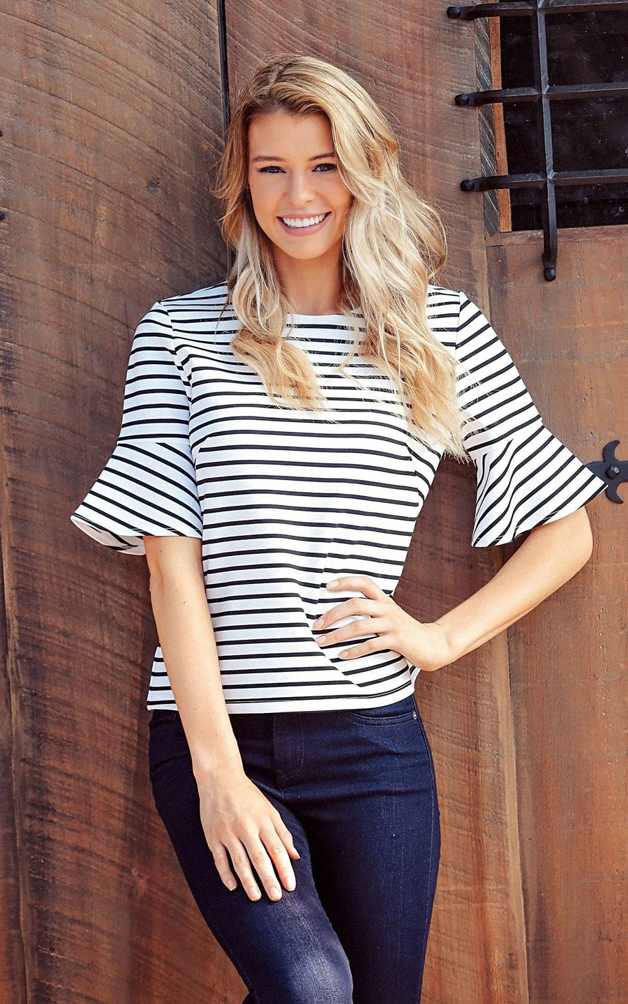 White Stripe Palermo Bell Sleeve Top - FINAL SALE