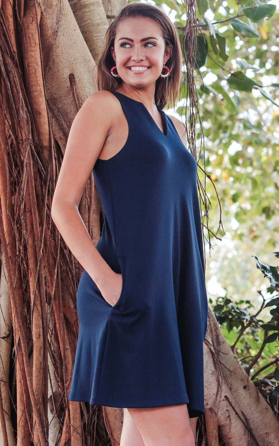 Navy Pippa Sleeveless Pocket Shift