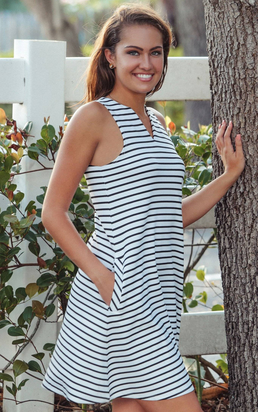 White Stripe Pippa Sleeveless Pocket Shift
