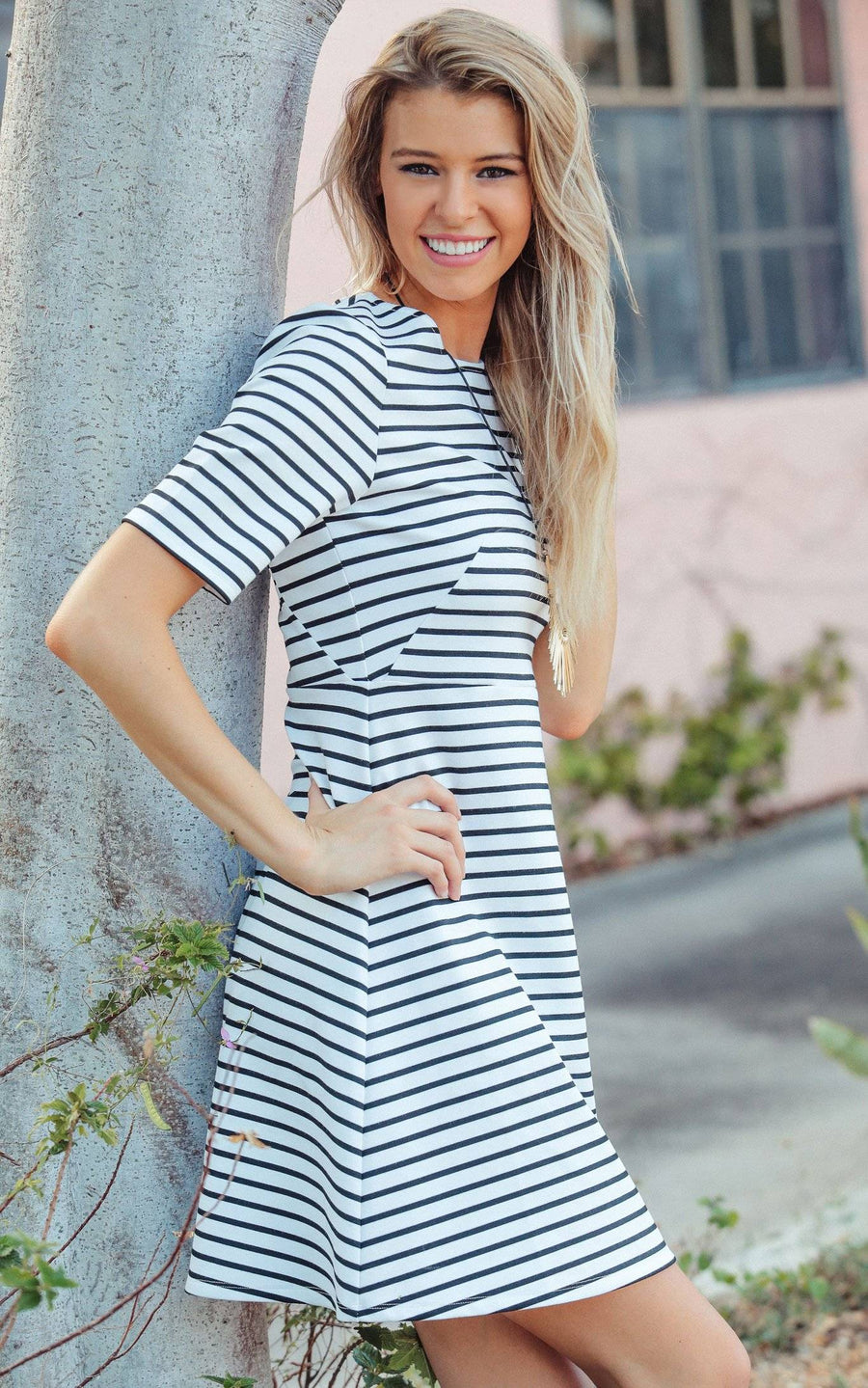 White Stripe Reese Fit and Flare Dress - FINAL SALE
