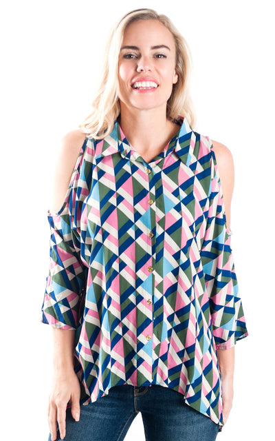 All For Color-Modern Maze Gwen Button Front Blouse - FINAL SALE-Tops