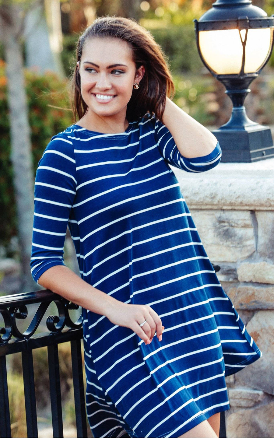 Navy Stripe Bella Pocket Swing Dress