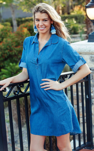 All For Color-Denim Addie Tunic Dress - FINAL SALE-Dresses