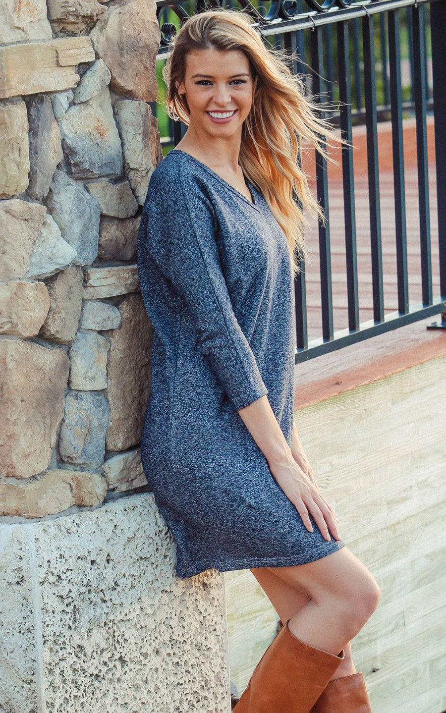 All For Color-Navy Jessie Slouch Dress - FINAL SALE-Dresses