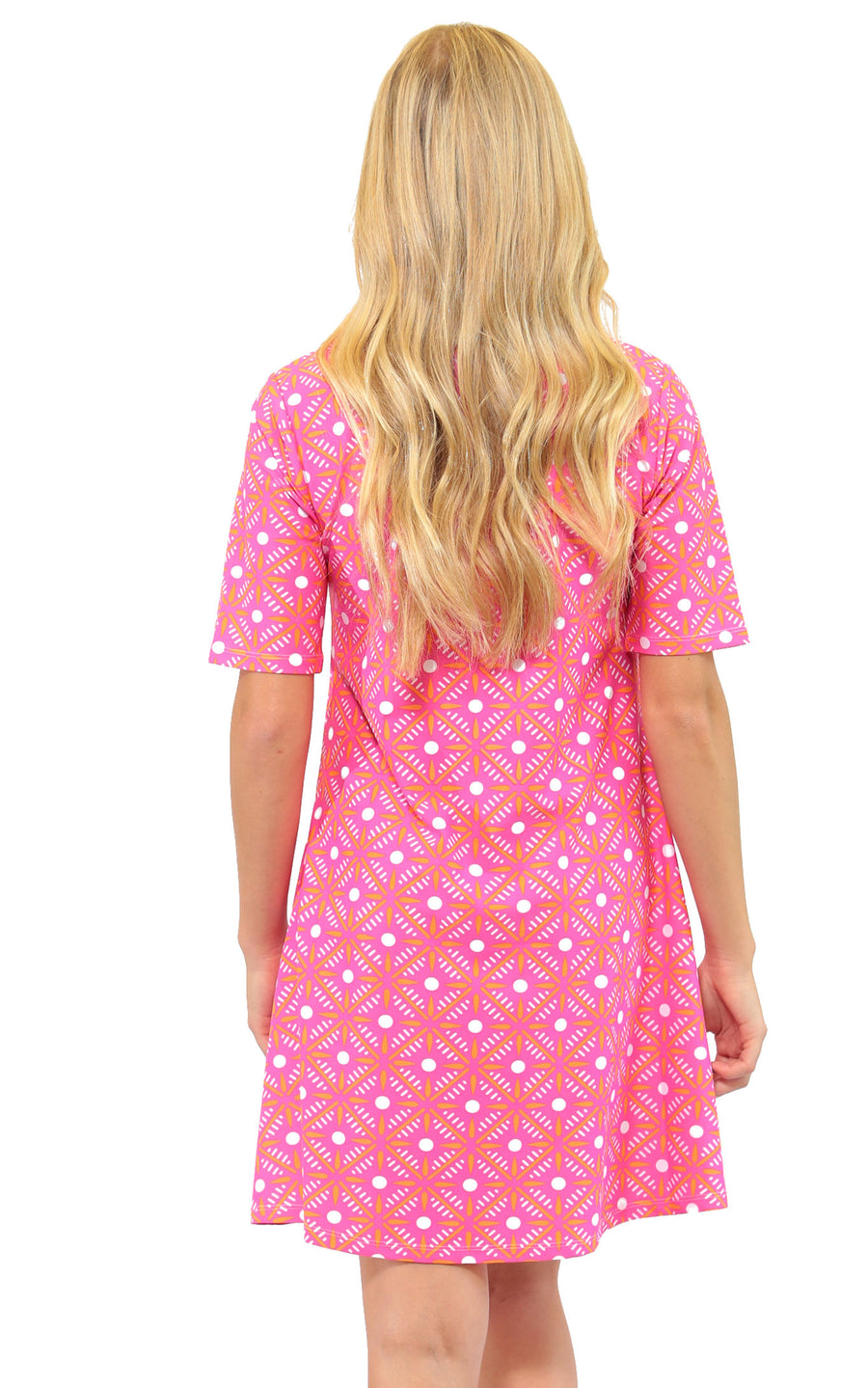 All For Color-Pink Prep Bayshore Lane Swing Dress - FINAL SALE-Dresses