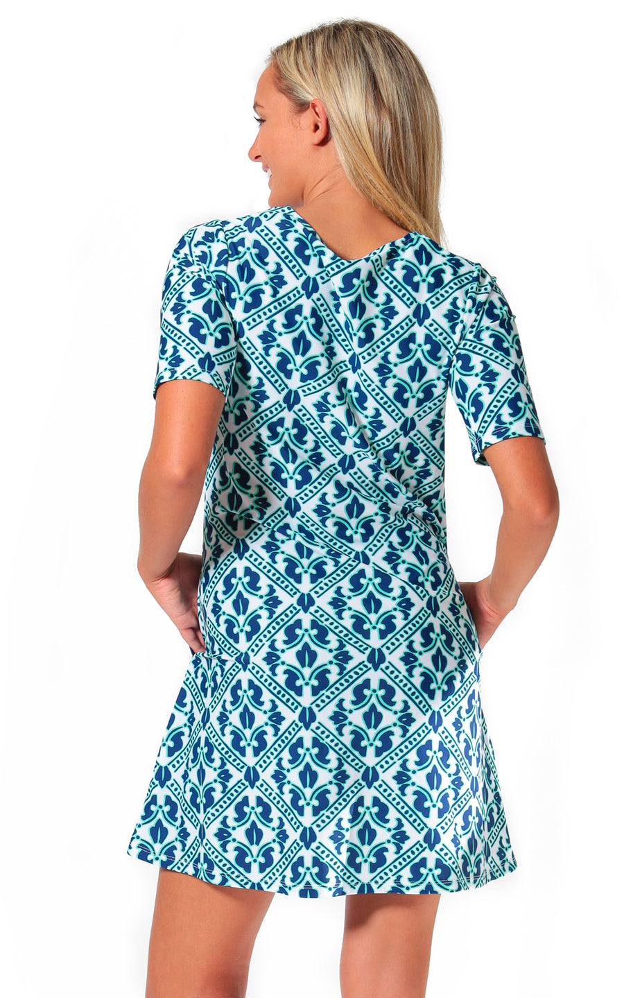 Aqua Trellis Bayshore Lane Swing Dress