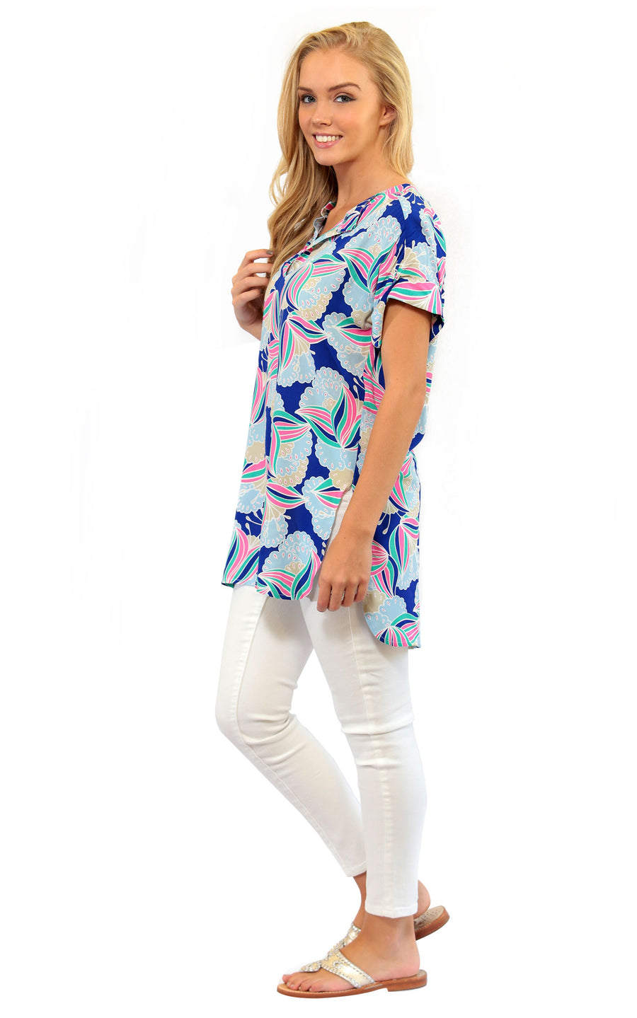 All For Color-Water Lily Judith Cuffed Tunic Blouse - FINAL SALE-Tops