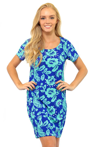 Birds of a Feather Cove Road Short Sleeve Scoop Neck Dress
