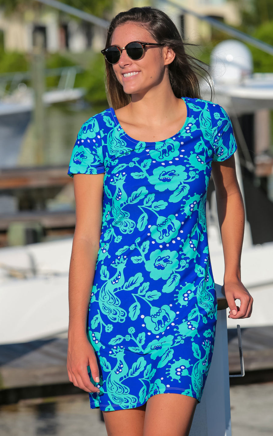 All For Color-Birds of a Feather Cove Road Short Sleeve Scoop Neck Dress - FINAL SALE-Dresses