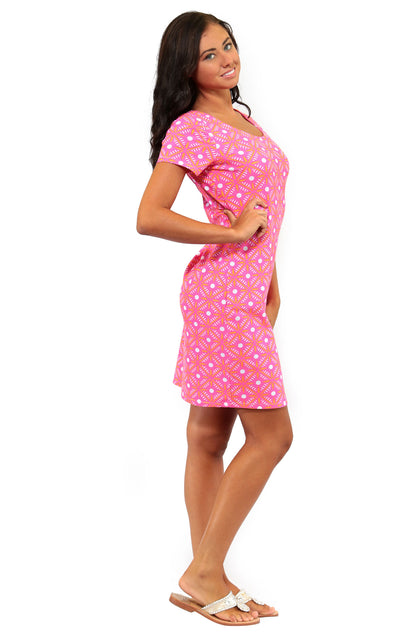 All For Color-Pink Prep Cove Road Short Sleeve Scoop Neck Dress  - FINAL SALE-Dresses