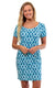 Aqua Trellis Cove Road Short Sleeve Scoop Neck Dress