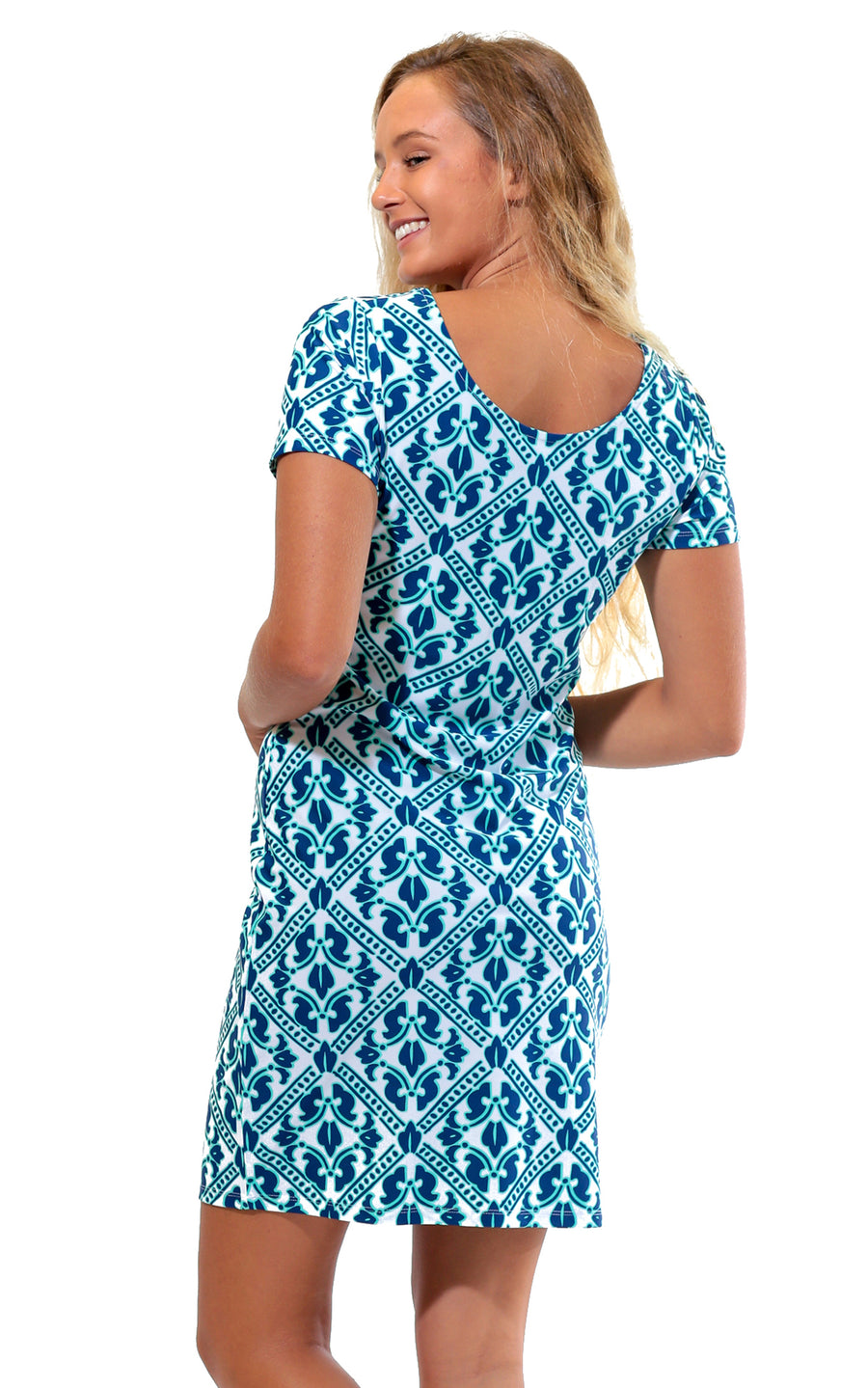 Aqua Trellis Cove Road Short Sleeve Scoop Neck Dress  - FINAL SALE