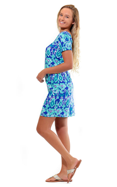 All For Color-Bahama Blue Cove Road Short Sleeve Scoop Neck Dress-Dresses