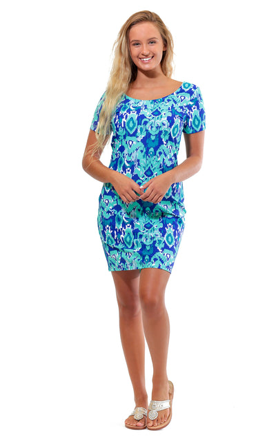 All For Color-Bahama Blue Cove Road Short Sleeve Scoop Neck Dress - FINAL SALE-Dresses