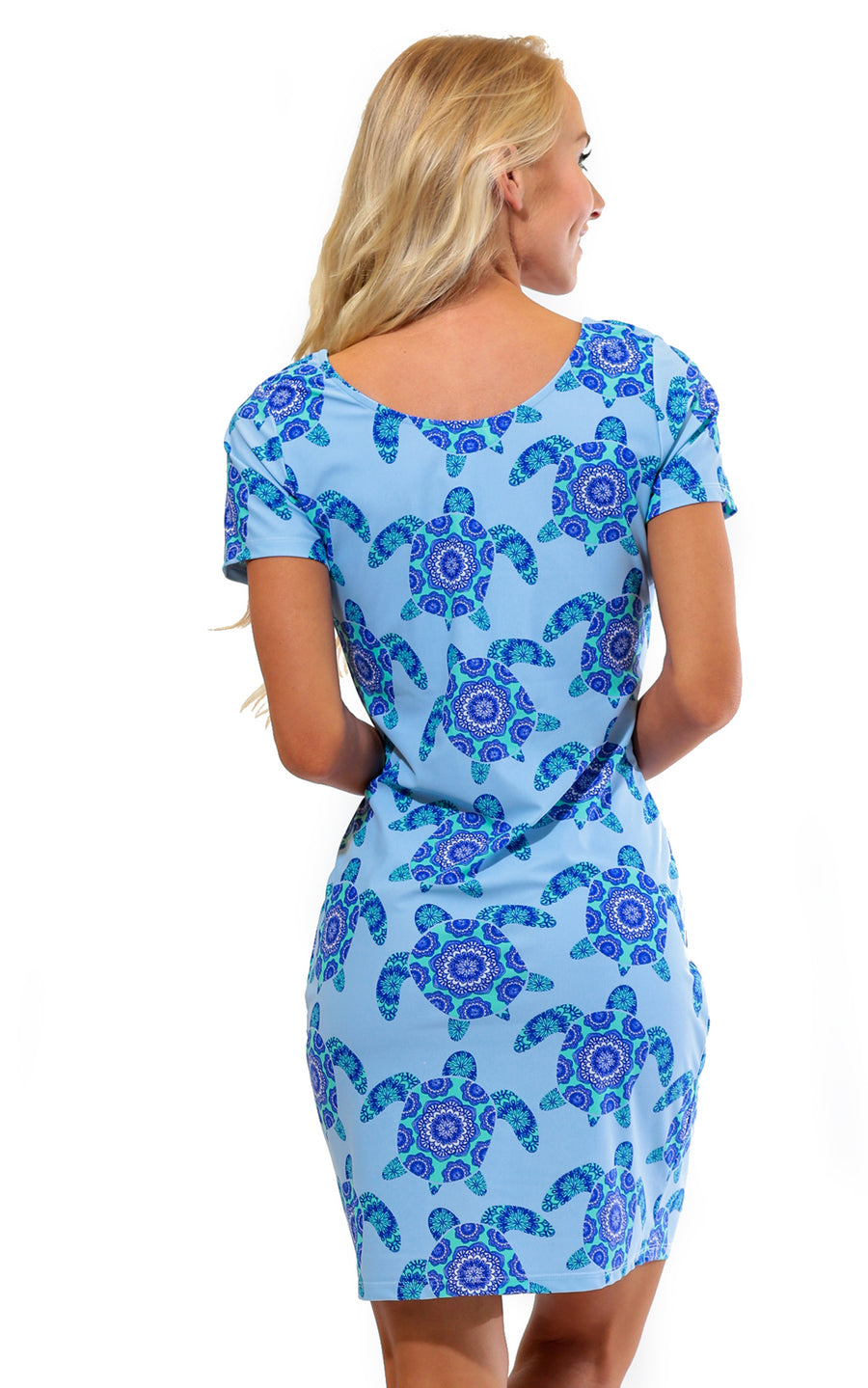 All For Color-Mandala Turtle Cove Road Short Sleeve Scoop Neck Dress  - FINAL SALE-Dresses