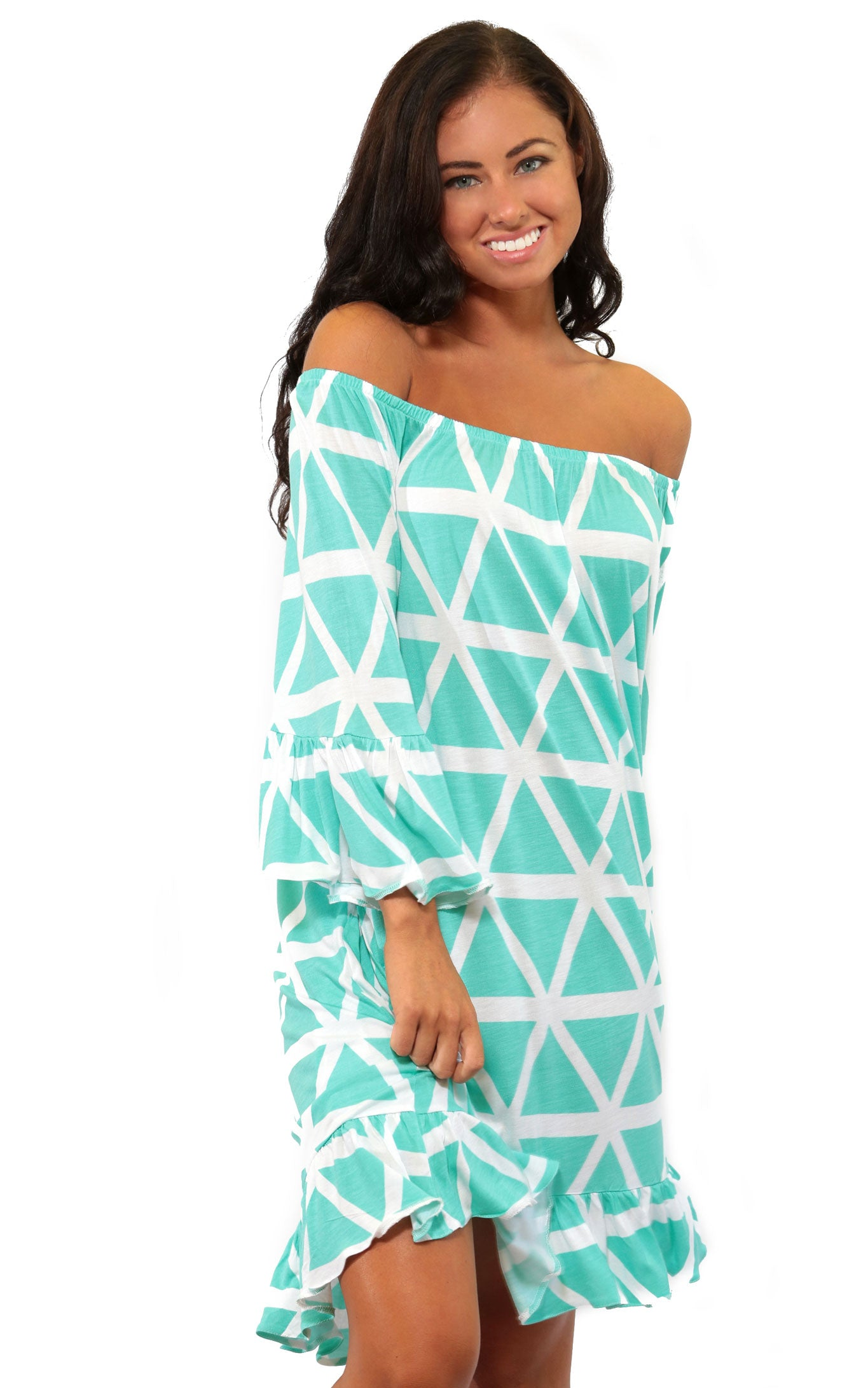 Aqua Breeze Miranda Off The Shoulder Dress