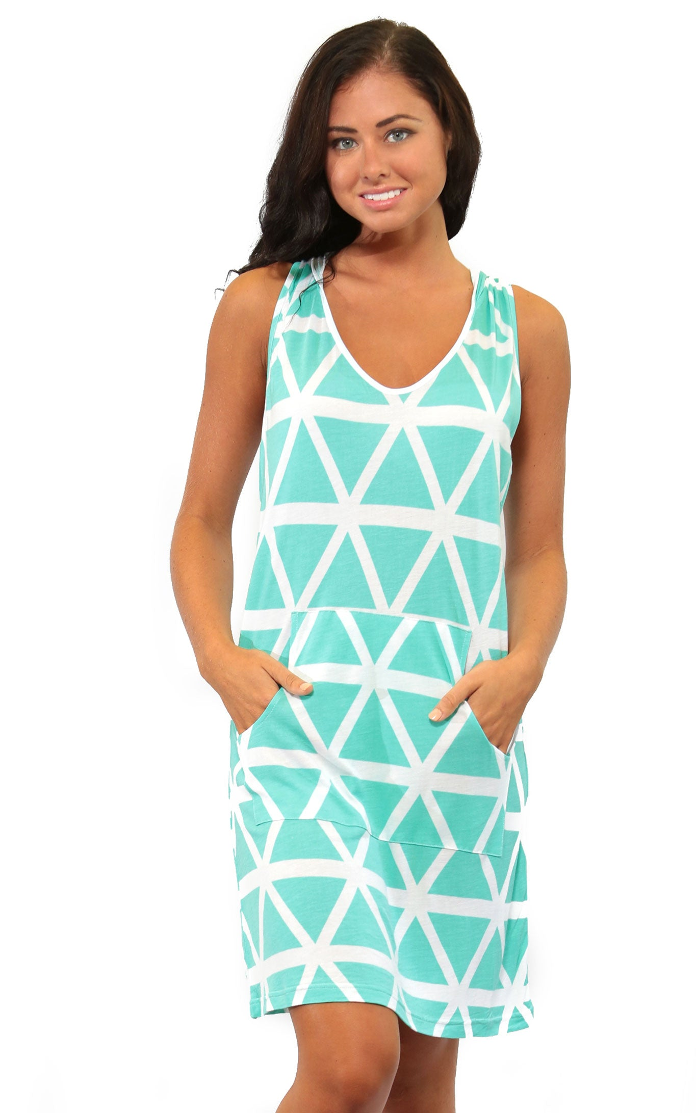 Aqua Breeze Tara Sleeveless Hoodie Dress