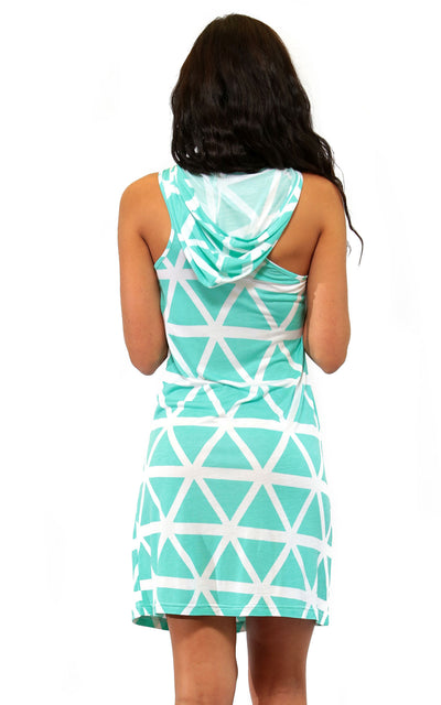 All For Color-Aqua Breeze Tara Sleeveless Hoodie Dress - FINAL SALE-Dresses