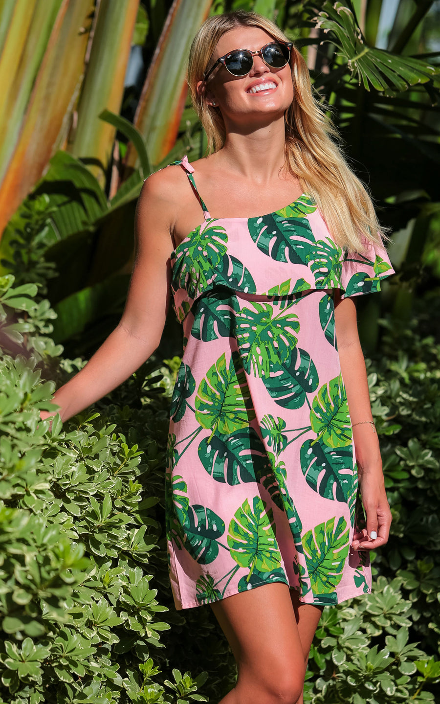 Blushing Palms Kelsi One Shoulder Dress