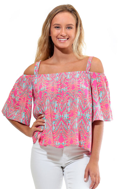 All For Color-Tahiti Sweetie Cece Flounce Top - FINAL SALE-Tops