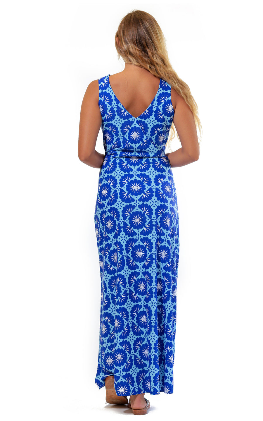 All For Color-Blue Lagoon Seaside Ridge Maxi Dress - FINAL SALE-Dresses