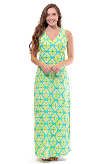 All For Color-Lime A Rita Seaside Ridge Maxi Dress - FINAL SALE-Dresses