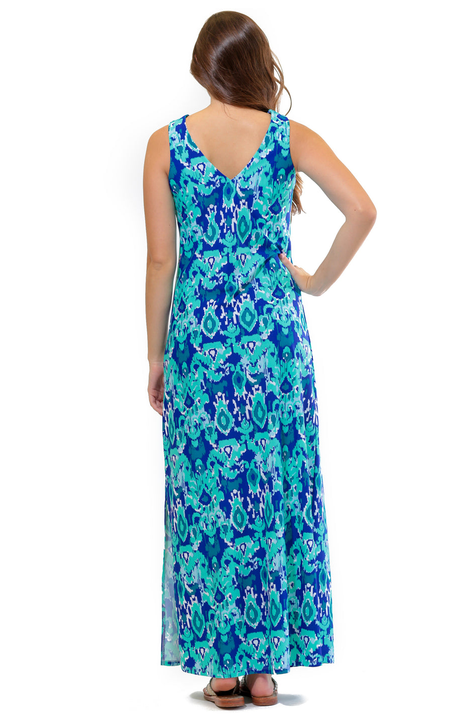 All For Color-Bahama Blue Seaside Ridge Maxi Dress - FINAL SALE-Dresses