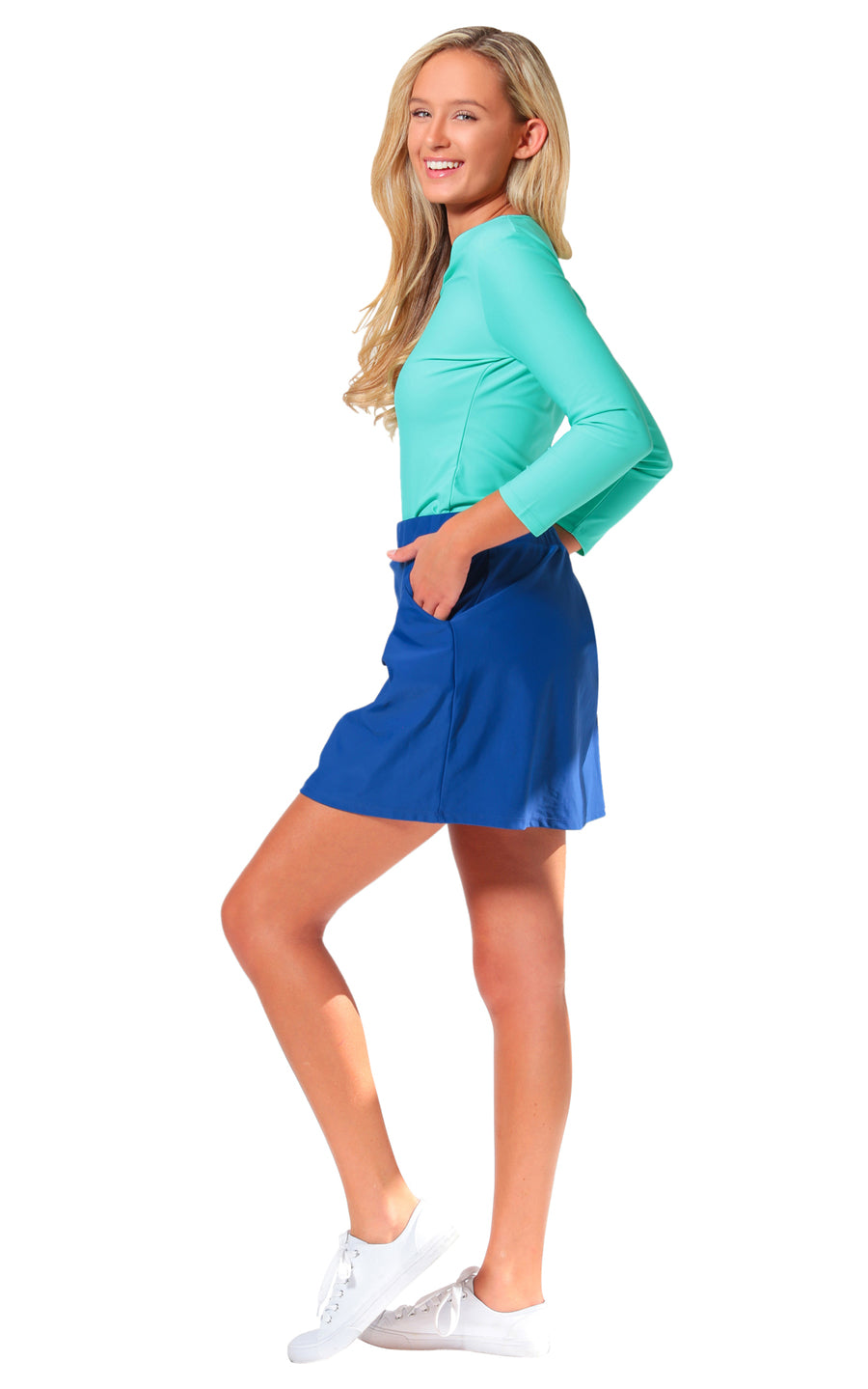 All For Color-Navy Harbor Isle Skort - FINAL SALE-Bottoms