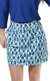 All For Color-Aqua Trellis Harbor Isle Skort - FINAL SALE-Bottoms