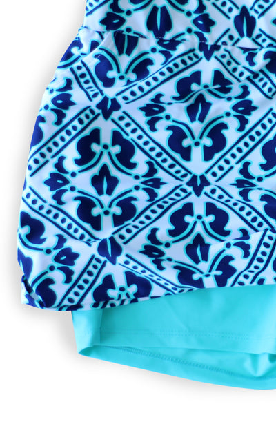 All For Color-Aqua Trellis Harbor Isle Skort-Bottoms