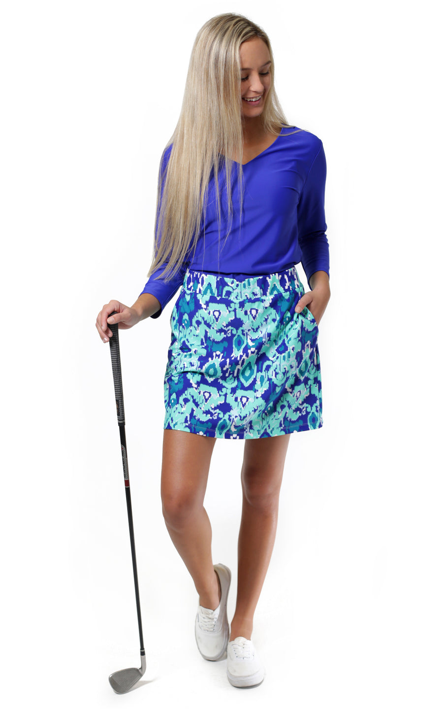 All For Color-Bahama Blue Harbor Isle Skort - FINAL SALE-Bottoms