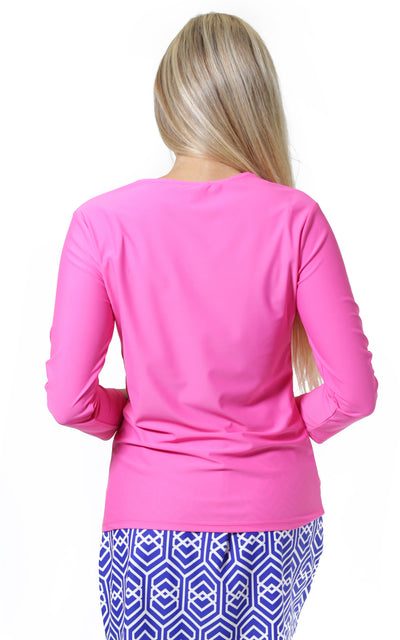 All For Color-Pink Ocean Drive V Neck Top - FINAL SALE-Tops