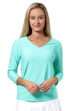 All For Color-Turq Ocean Drive V Neck Top - FINAL SALE-Tops