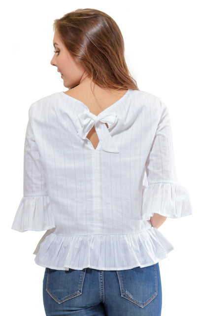 White Cotton Mel Bow Back Blouse