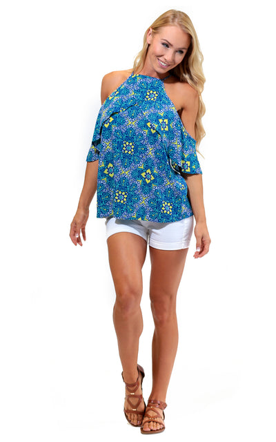 All For Color-Wanderlust Kendra Cold Shoulder Tank - FINAL SALE-Tops