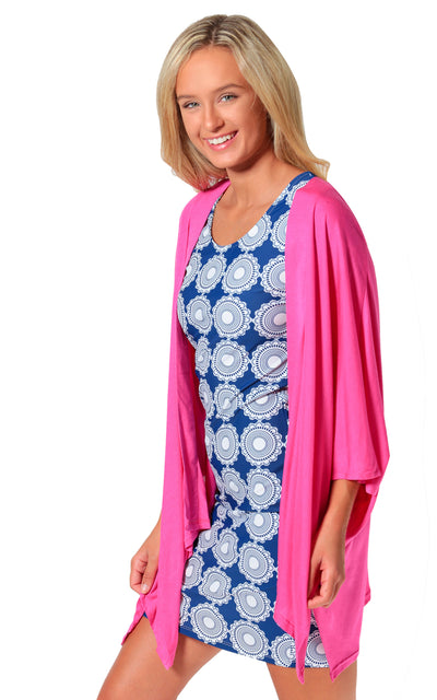 All For Color-Pink Taylor Kimono Topper-Tops