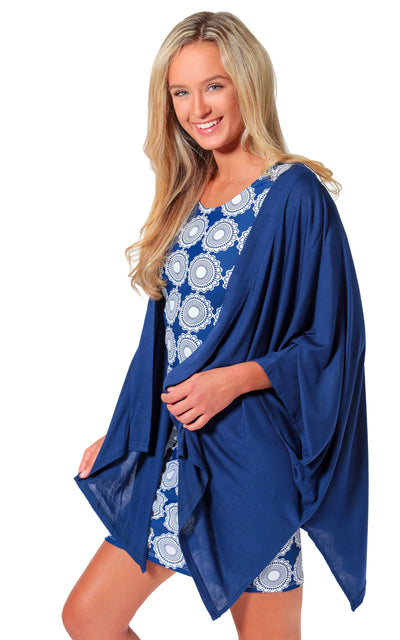 All For Color-Navy Taylor Kimono Topper - FINAL SALE-Tops