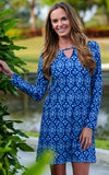 All For Color-Midnight Blue Driftwood Way Long Sleeve Pocket Dress-Dresses