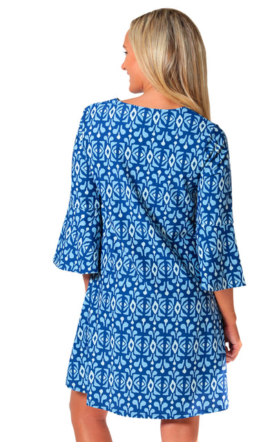 All For Color-Midnight Blue Sandpiper Trail Bell Sleeve Swing Dress-Dresses