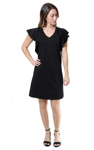 All For Color-Black Whitney Flutter Sleeve Dress- FINAL SALE-Dresses